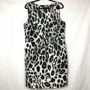 ANN TAYLOR silk leopard print sheath career dress